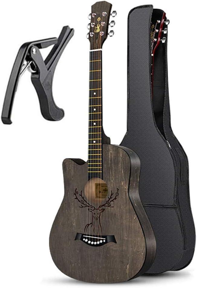 BAIYING-Guitarra Acústica , Adulto Viaje Práctica Estudiantil Diseño De Superficie Cortada 38 Pulgadas Balada Guitarra Mochila Impermeable Capo, 7 Colores (Color : A- Black, Size : Long-96cm)