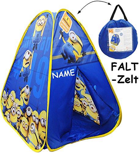 alles-meine.de GmbH Faltzelt / Kinderzelt -  Minions - Ich einfach unverbesserlich  - incl. Name - für draußen / drinnen - Pop up faltbar - Spielhaus - 98 cm - Bällehaus - auch..