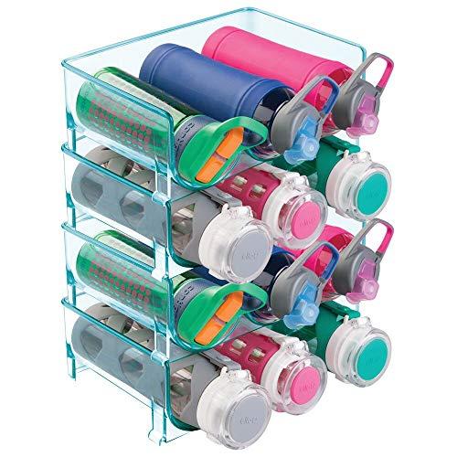 mDesign 4er-Set Flaschenständer – praktisches Flaschenregal zur Aufbewahrung von insgesamt 12 Wasser- oder Weinflaschen – stapelbarer Organizer aus BPA-freiem Kunststoff – meerblau
