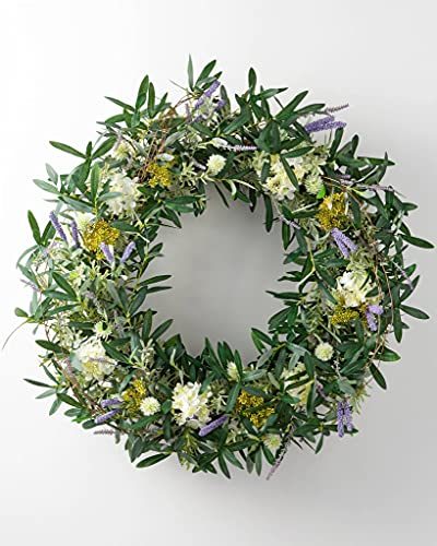 Balsam Hill Floral French Market Artificial Wreath 32 Inches Handcrafted with Faux Blooms for Spring with Purple Cattails, White Lilacs, Thistle, Ans Mixed Greenery