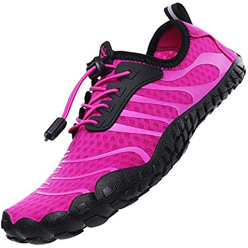 Topwolve Escarpines para Hombre Barefoot Respirable Zapatos de Agua Secado Rápido Antideslizante Zapatos de Playa para Deportes Acuáticos Buceo Surf Playa Pesca Yoga,Rosado,41 EU