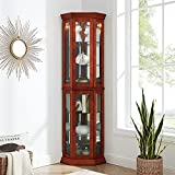 G & G Lighted Corner Curio Cabinet with Tempered Glass Mirrored Back Wood Floor Standing, 6-Tier, Walnut