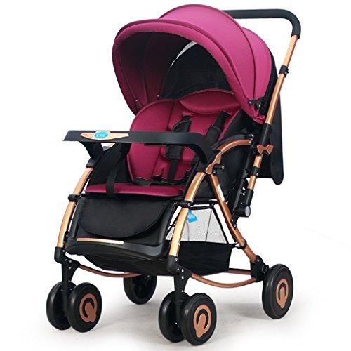 Guo Cochecito de bebé puede sentarse Fold oscilante del caballo del empuje Ultra-ligero bi-direccional de cuatro ruedas del carro de bebé Bb (púrpura)