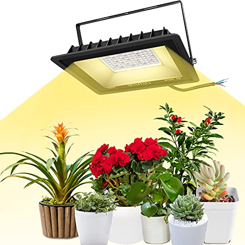 MOSFiATA 350W Full Spectrum LED Grow Light COB Plant Growing Lamp with 84 LED Light Bulbs for Indoor and Outdoor Plants with Adjustable Bracket, IP66 Waterproof Growing Plant Lights for Seedling, Veg