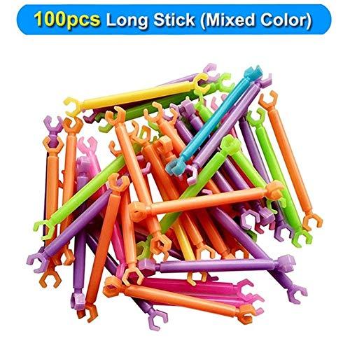 KDHJY 100 / 880pcs Sticks Nueva Montado Bloques de Construcción Kids Pila palillo de Juguetes Inteligentes Diferentes en Forma Varillas de Bricolaje Juguete for niños (Color : 100pcs Long Sticks)