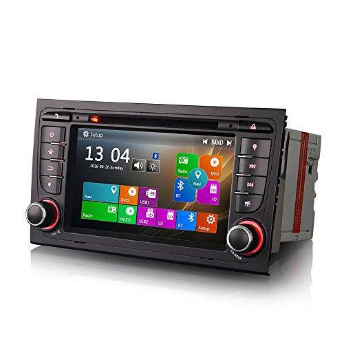 Erisin 7 Pulgadas Autoradio para A4 Seat EXEO S4 RS4 8E 8F B9 B7 RNS-E Reproductor de DVD para automóvil Radio automática con navegación GPS Sat Nav HD 1080P 3G Bluetooth USB SD Coche DVR RDS