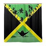 Jamaica By Other - Cortina de ducha de poliéster para baño, estampado con ojales a prueba de óxido, 152 x 183 cm