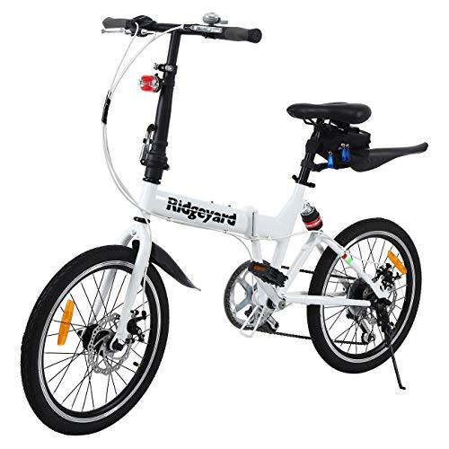 Ridgeyard Bicicletta pieghevole 20 pollici a 6 marce Bici pieghevole + LED batteria + borsa sella + campana bici (bianco)