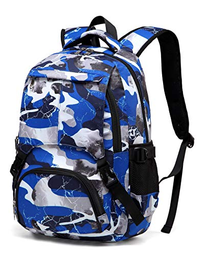 BLUEFAIRY Boys Camouflage School Bags for Kids Backpacks for Middle School Students Bookbags (Camo Blue)
