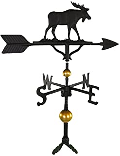 Montague Metal Products 32-Inch Deluxe Weathervane with Satin Black Moose Ornament
