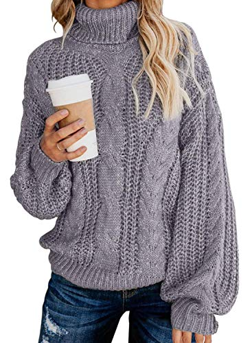Chase Secret Womens Casual Turtleneck Long Sleeve Loose Chunky Knit Pullover Sweater M Grey
