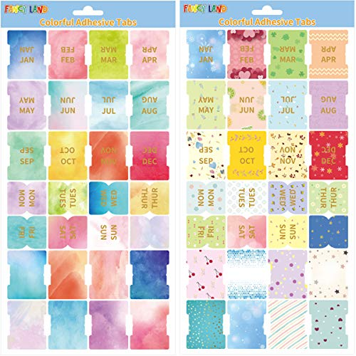 Colorful Adhesive Tabs Decorative Monthly Weekly Index Tab 56PCS for New Year