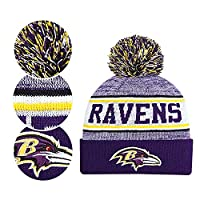 Fans Hats Winter Knit Cuffed Stylish Beanie Knit Cap Sport Hats Fashion Toque Cap for Gift for Unisex Men Women Indoor and Outdoor, Festival, Holiday, Celebration, Parties, Bar (Ravens)