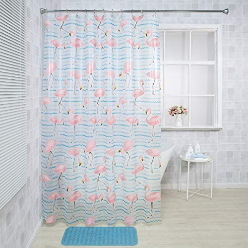 Flamingo Shower Curtain Liner, 72' W x 72' H EVA 8G Shower Curtain with Heavy Duty Stones and 12 Rust-Resistant Grommet Holes, Waterproof Thick Bathroom Plastic Shower Curtains without Chemical Odor