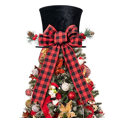 HMASYO Christmas Tree Topper Hat - Upgrade Large Black Velvet Bowler Derby Hat with Red Plaid Bow and Lengthened Ribbon Christmas Tree Decorations Desktop Ornaments for Holiday Home Decor (Black)