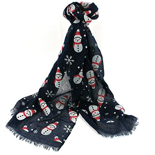 Black Ginger Pupazzo di Neve Sciarpa Navy–Fun da Donna di Natale di