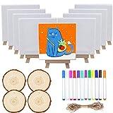 Smatoy Lot de 33 pièces de peinture, 8 mini chevalets en bois, 8 toiles, 4 tranches...