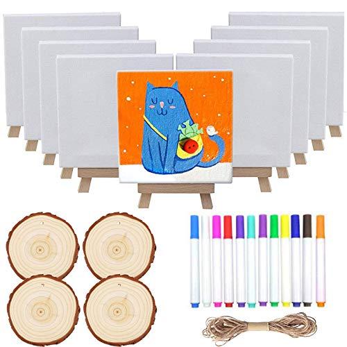 Smatoy 33 Pezzi Set da Pittura, 8 Mini Cavalletti in Legno, 8 Tele, 4 Fette di Legno Naturale, 12 Pennelli, Corda di Iuta, Materiale Artistico per Bambini e Principianti