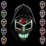 KiraKira Máscara LED Halloween, Halloween LED Máscaras Adultos LED Mask para la Fiesta de Disfraces, Máscara Disfraz Luminosa Craneo Esqueleto (Green)