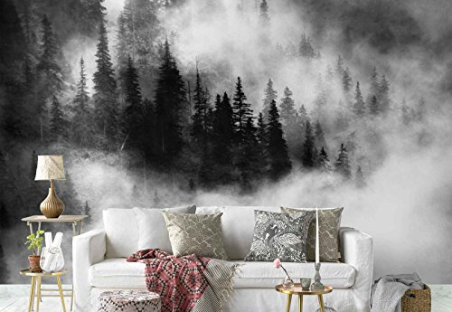 Vlies Fototapete Fotomural - Wandbild - Tapete - Kiefern Wald Nebel - Thema Wald und Bäume - L - 254cm x 184cm (BxH) - 2 Teilig - Gedrückt auf 130gsm Vlies - 1X-6611V4