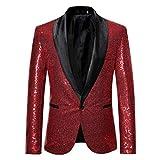 Homebaby Uomo Blazer Classic Brillantini con Paillettes Glitterati Giacca da Abito Elegant...