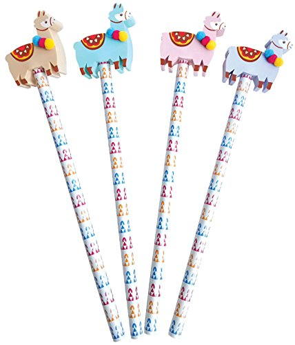 The Piggy Story 'Glama Llama' Set of 4 Pencils with Die-Cut Eraser Toppers