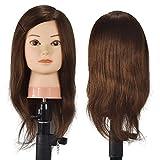 Testa di manichino cosmetica femminile professionale con capelli 100% capelli umani Capelli intrecciati da 18 pollici Parrucchiere Testa di bambola con morsetto da tavolo (marrone)