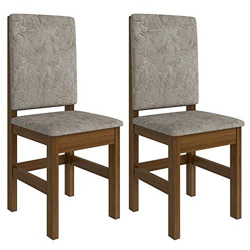Conjunto de 2 Cadeiras Mistic Suede Canela