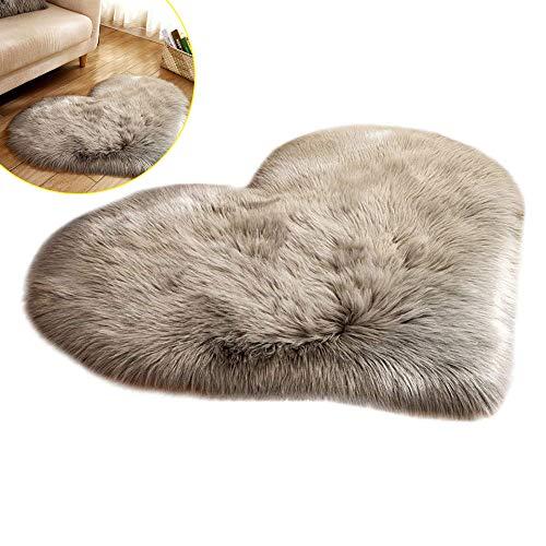 Bestine Tapis antidérapant en peluche en forme de cœur pour chambre à coucher, salon, intérieur, canapé