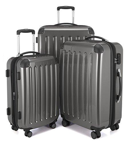 HAUPTSTADTKOFFER - Alex - 4 Doppel-Rollen 3er Trolley-Set Rollkoffer Reisekoffer, (S, M und L) Koffer-Set, 75 cm, 235 L, Titan