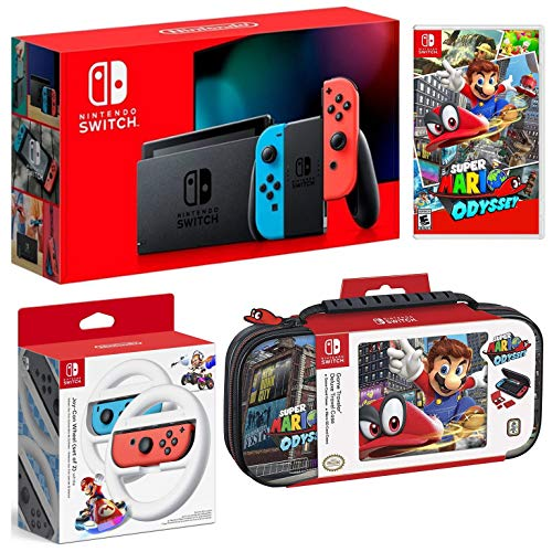 Nintendo Switch Bundle: 32GB Console Red and Blue Joy-Con, Nintendo Switch Wheel (set of 2), Super Mario Odyssey Video Game and Deluxe Travel Case