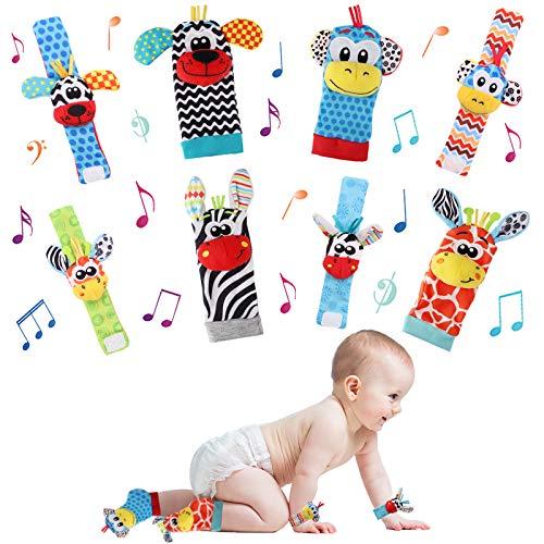 Seamuing Sonajeros de Muñeca Bebe Sonajero de Pies y Manos Juguetes de Desarrollo Animal lindo Calcetines Sonajero para 0-12 Meses Recién Nacido Niño Niñas