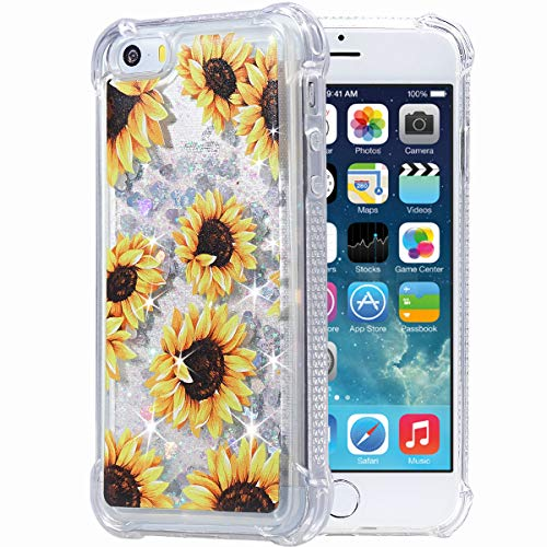 iPhone 5 5s SE Case, Flocute iPhone 5s Glitter Floral Case Flower Bling Sparkle Floating Liquid Soft TPU Cushion Luxury Fashion Girly Women Cute Case for iPhone 5 5s SE (Sunflower)