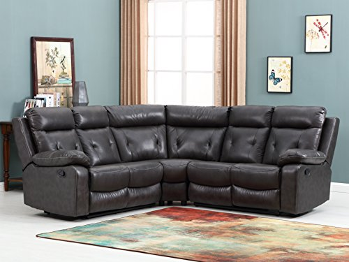 Blackjack Furniture 9443 Albany Collection Leather Air Upholstered Reclining Living Room, Sectional Sofa, Brown
