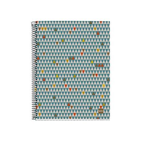 Miquel Rius 2462 - Cuaderno Notebook 100% Reciclado - 4 franjas de color, A5, 120 Hojas cuadriculadas 5mm, Papel 80 g, 2 Taladros, Cubierta de Cartón Reciclado, Diseño Ecotriangles