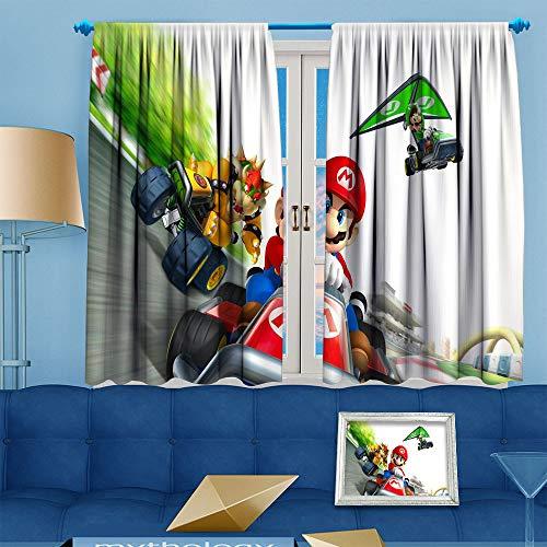 Ficldxc Super Mario Vorhang, verdunkelt, wärmeisolierend, Cafe-Vorhang (Super Mario Party), Polyester, Farbe06, W63 x L63 Inch