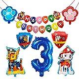 HONGECB Globos de Patrulla Canina, Suministros de fiesta de Patrulla Canina, Banner de Happy Birthday, Numeros 3 Decoracion, Perros Foil Helio Balloons for Kids Gift Fiesta, 9 Piezas