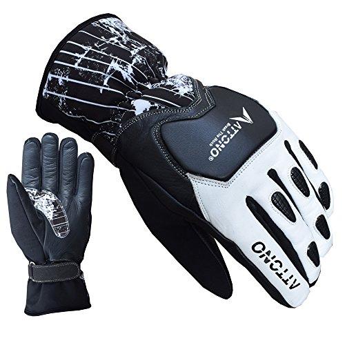 ATTONO Skihandschuhe Leder Softshell Ski Racing Snowboard Handschuhe - Größe 9/L
