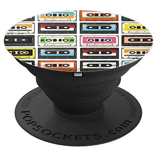 Retro 90s Nostalgie Musik Kasetten bunt Muster 90er - PopSockets Ausziehbarer Sockel und Griff für Smartphones und Tablets