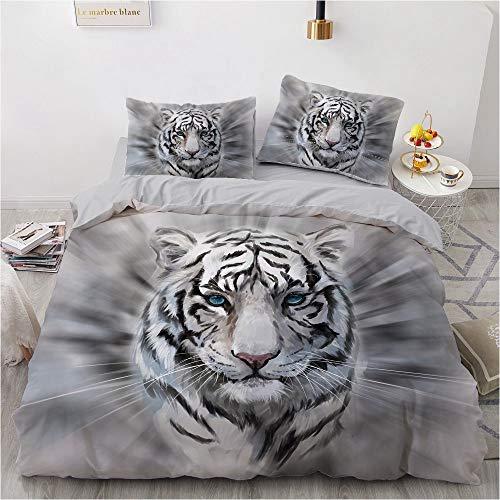 NEWAT Juego de ropa de cama con diseño de tigre de animales 3D, con estampado de tigre, poliéster liso, diseño de estrella multicolor y funda de almohada (200 x 200 cm)