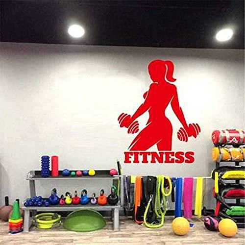 Pegatina de ejercicios de mujer fitness Pegatinas de pared talladas Etiquetas engomadas de la decoración del gimnasio 46x58cm