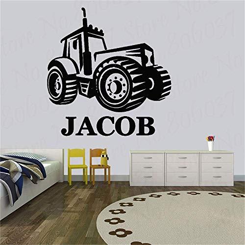 Personalizar Nombre Personalizado Tractor Agrícola Personalizado Cualquier Nombre Decoración Pegatinas De Pared Calcomanías Para Habitación De Niños Decoración Del Hogar W 42X44Cm