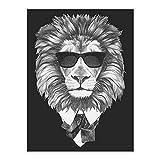 SHBKGYDL Bilder Auf Leinwand,Anzug Tiere Löwe Schwarz