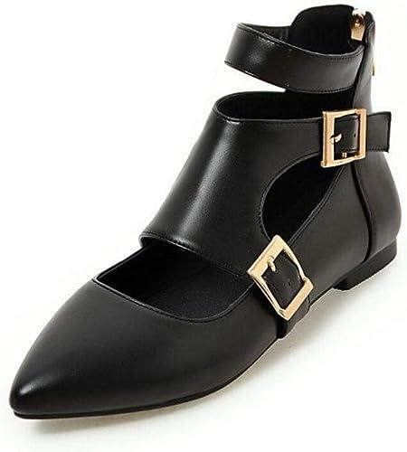Femmes bottes à boutons fermés Haut-Tops Chaussures plates Chaussures de cour à boucle Chaussures romaines Noir