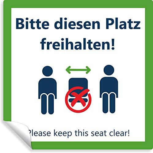 10 Stück Aufkleber - Bitte diesen Platz freihalten ✓ wasserfest Warnhinweis ✓ abwischbar für Stühle, Tische und Bänke - Please Keep The seat Clear