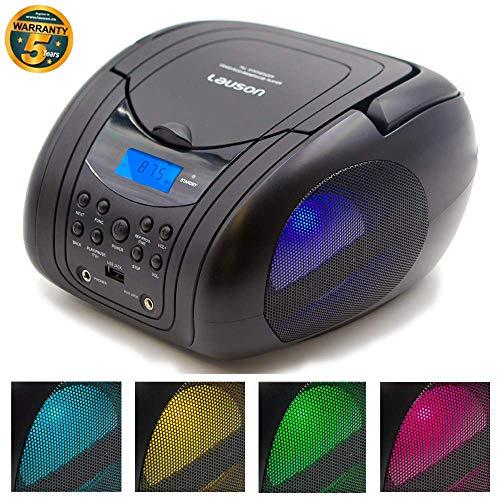 Lauson CP455 Boombox CD/MP3-Speler | FM Stereo Draagbare Radio | USB-Lezer | LCD-Scherm | Radio-CD-Speler voor Kinderen met Gekleurde LED-Verlichting | Hoofdtelefoonaansluiting van 3,5 mm