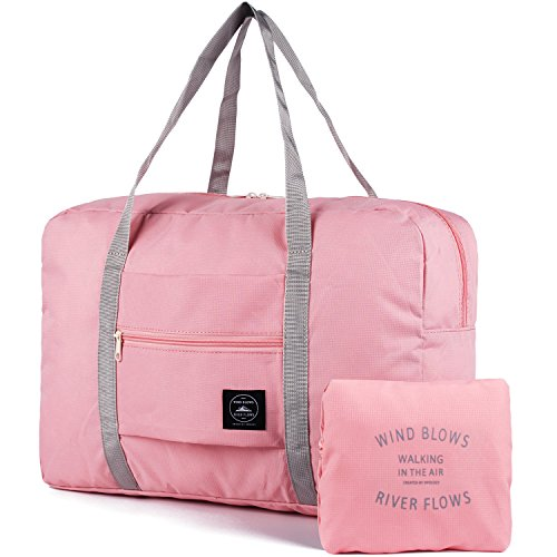 Packable Travel Duffel Bag Holdall Tote Carry on Luggage Weekender Overnight Sport Duffle for Kids Girls Women (Rose Pink)