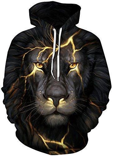 Pandolah Men's Athletic 3D Animal Cosmic Galaxy Printed Hoodies Sweatshirts (L/XL, Lightning Lion)