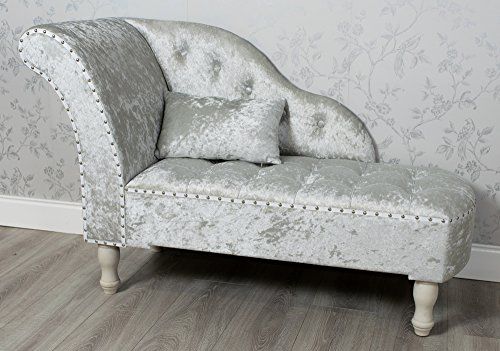 DOWNTON INTERIORS FRENCH STYLE PALE GREY CRUSHED VELVET FABRIC UPHOLSTERED CHAISE LONGUE SOFA CHAIR (GZ807) **FULL RANGE OF CRUSHED VELVET LOVESEATS, CHAIRS, BENCHES AND TRUNKS ARE AVAILABLE**