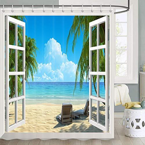 beach scene shower curtain - 4